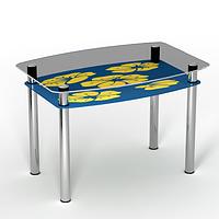 """Стеклянный кухонный стол с полкой """"Мальва"""", фото 1"""