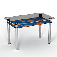 """Стеклянный стол с полкой на кухню """"Позитив"""""""