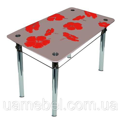"""Скляний кухонний стіл з полицею """"Лілія"""""""