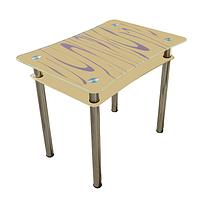 """Стеклянный стол с полкой на кухню """"Винтаж"""""""