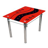"""Стеклянный стол с полкой на кухню """"Абстракция"""""""