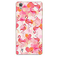 Чехол с рисунком Printed Silicone для LG X Power K220DS Фламинго И Сердечки