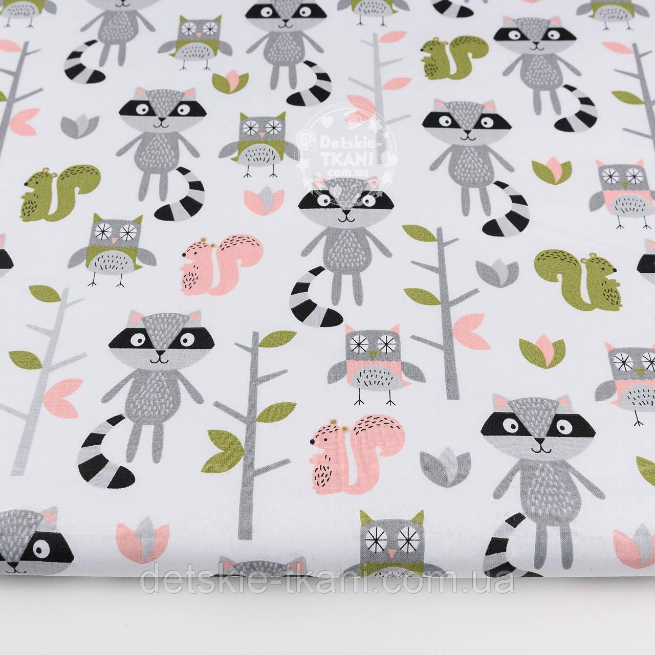 Лоскут ткани с енотами, совами и розовыми белочками, №1196, размер 31*80 см