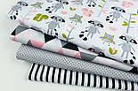 Лоскут ткани с енотами, совами и розовыми белочками, №1196, размер 31*80 см, фото 2