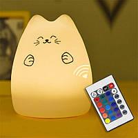Силиконовый ночник «Котик с лапками» с пультом 3DTOYSLAMP