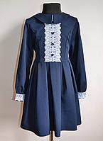 Детское школьное платье синего цвета с кружевом на девочку 134 размер, фото 1