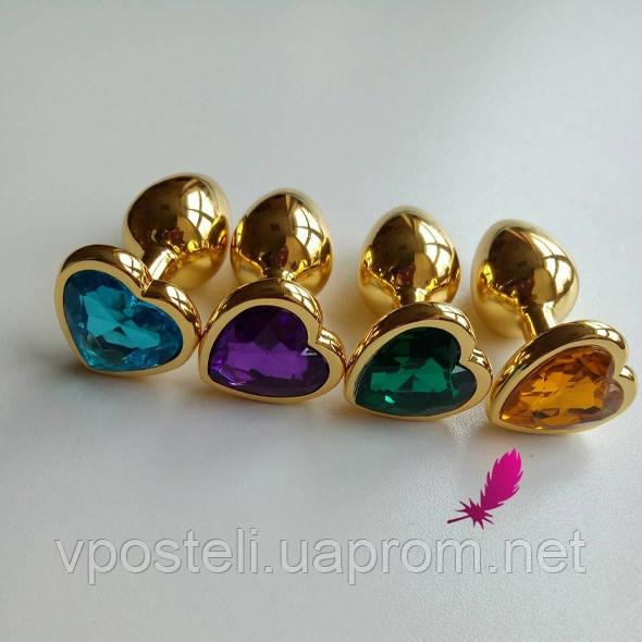 Маленькая анальная пробка сердечко с кристаллом(фиолетовый)