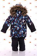 Детский зимний комбинезон Синий алфавит ( куртка +полукомбинезон)