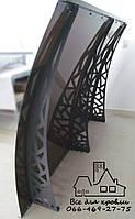 Металлический сборный козырёк Dash'Ok Хайтек (2,05М * 1М) с монолитным поликарбонатом 3 мм