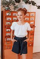 Базовая блуза-топ школьная для девочки из батиста, размеры 30, 32, 34, 36. (В-75)Размеры уточняйте!