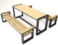 Обеденный стол с 2 лавками в стиле LOFT (NS-963247291)