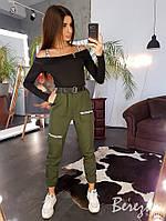 Костюм женский стильный топ с резинками и брюки карго с надписью разные цвета Db1692