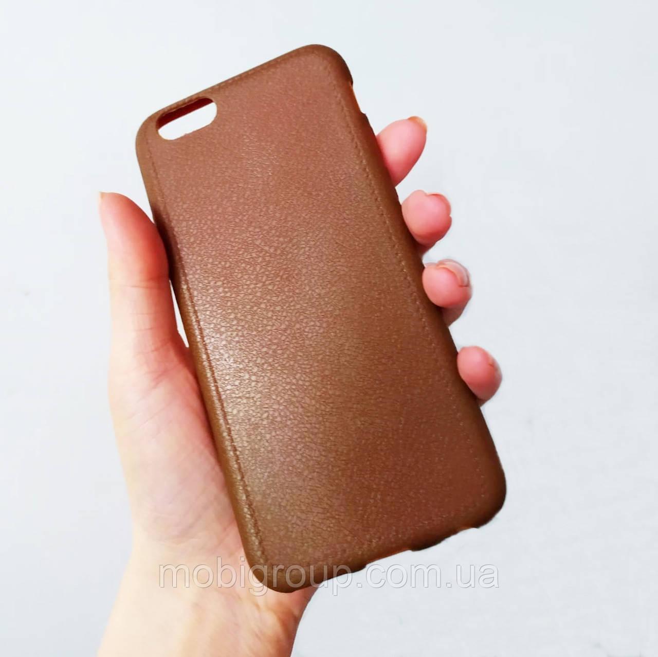 Силиконовый чехол под кожу для iPhone 6/6S, коричневый