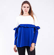 Блузка женская двухцветная с длинным рукавом (электрик)