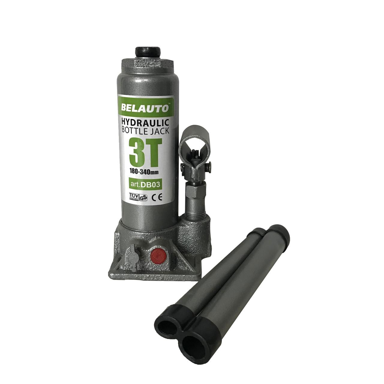 Домкрат БЕЛАВТО DB03 гидравлический (бутылочный) 3 Т, Высота подъема: 180-340мм
