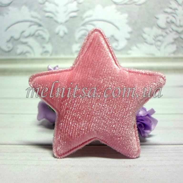 """Объемная аппликация-патч """"Звезда"""",  1 шт., 5,5 см,  велюр, цвет розовый"""