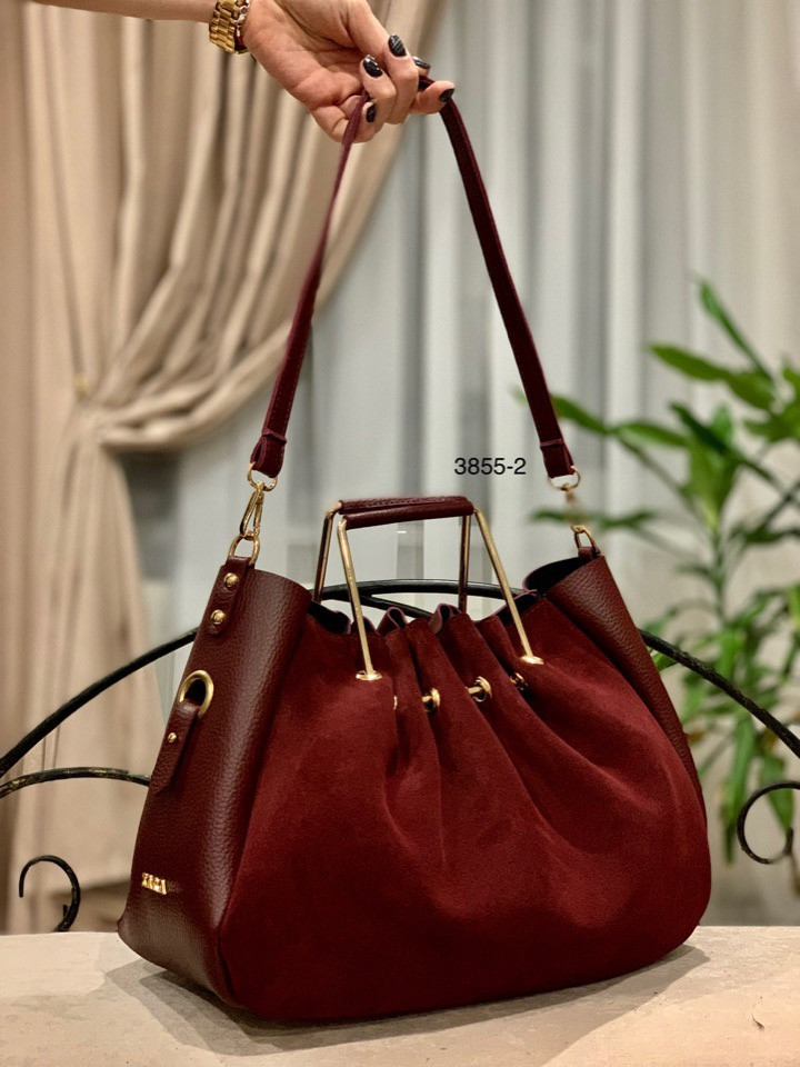 Красива замшева сумка з клатчем