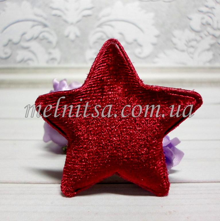 """Объемная аппликация-патч """"Звезда"""",  1 шт., 5,5 см,  велюр, цвет бордовый"""