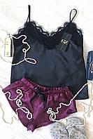 Женская пижама атлас-шелк Ринди (черный/бордо)