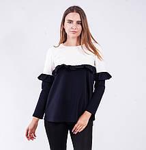 Блузка женская двухцветная с длинным рукавом (баклажан)