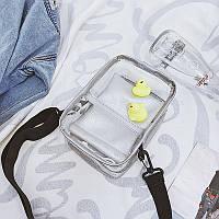 Спортивная серая сумочка прозрачная с мешочком через плечо, фото 1