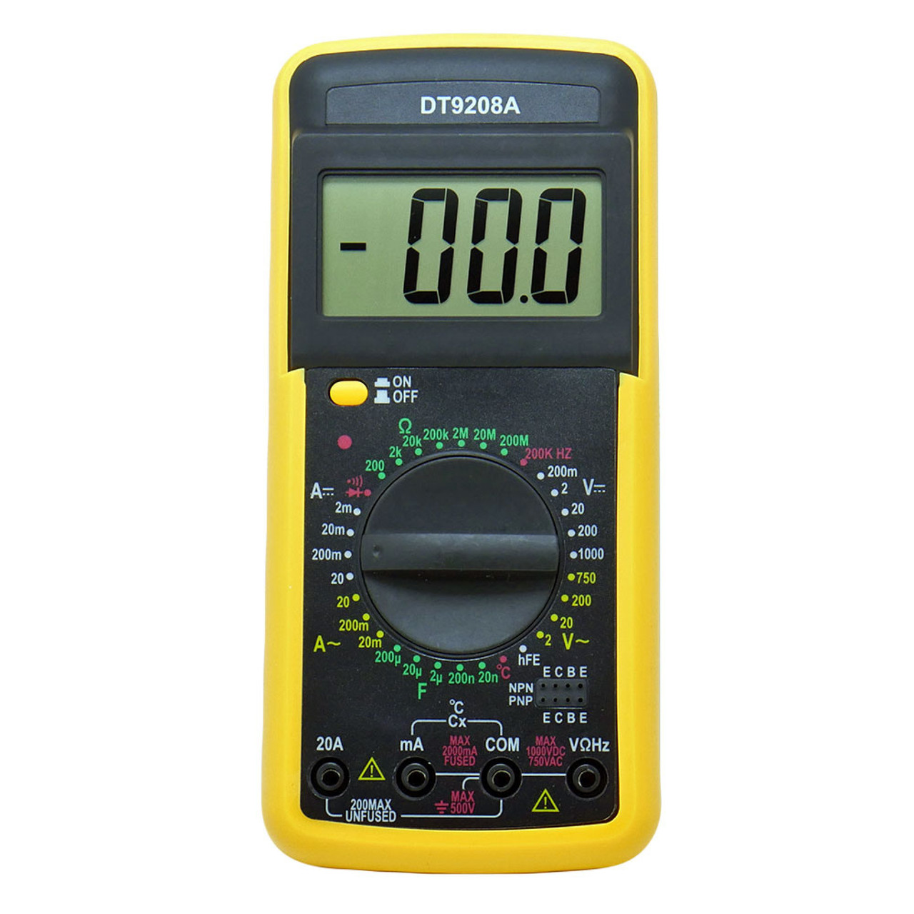 Мультиметр DT-9208A с измерением конденсаторов, температуры, частоты, силы тока