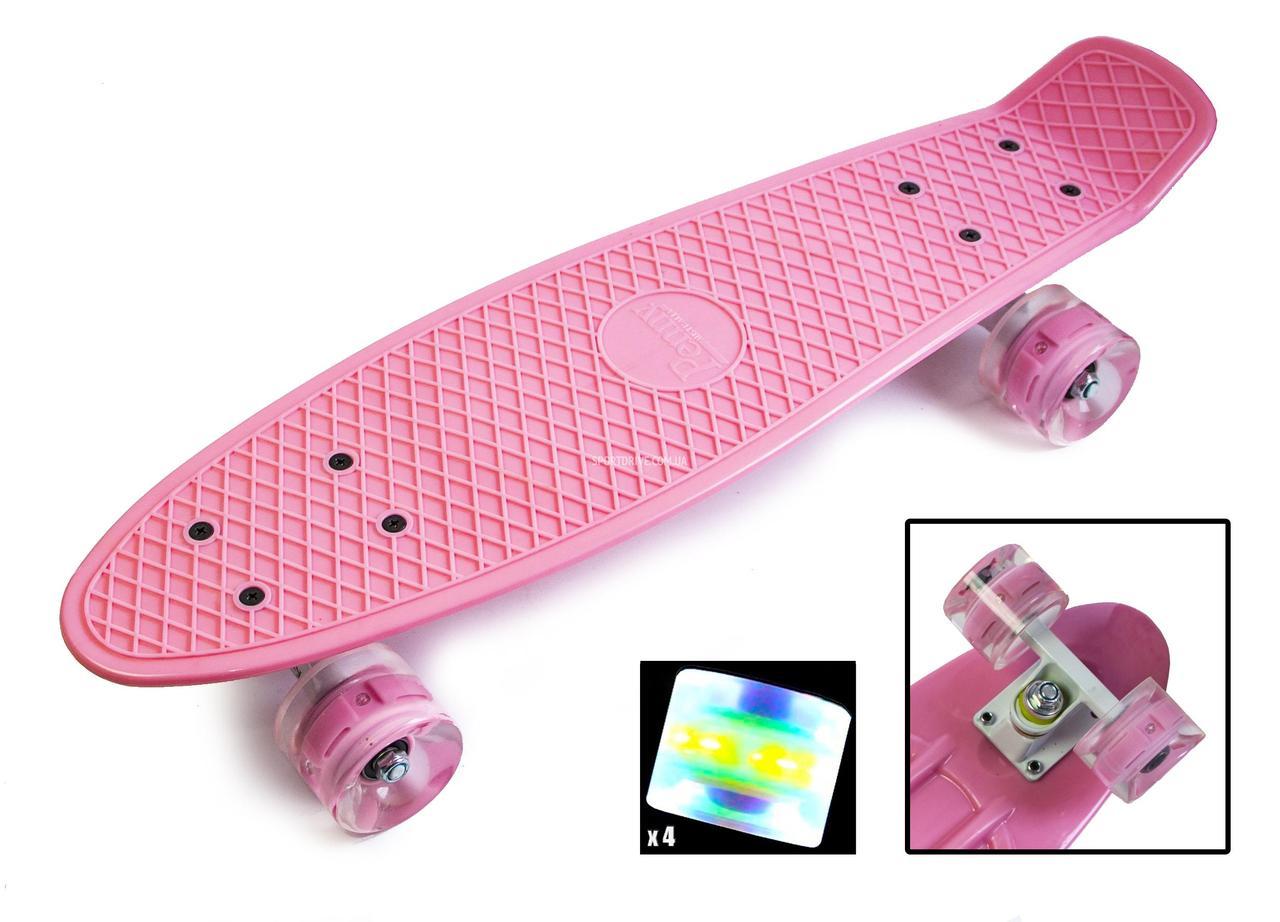 "Penny Board ""Pastel Series"" Нежно-розовый цвет. Светящиеся колеса"