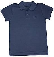 Темно-синяя футболка поло для мальчика, рост 122 см, Фламинго