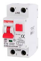 Выключатель дифференциального тока с функцией защиты от сверхтоков e.rcbo.pro.2.С16.30, 1P+N, 16А, С, тип А, 30мА ENEXT [p0720009]