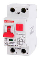 Выкл. дифференц тока с защитой от сверхтоков e.rcbo.pro.2.C16.10, 1P+N, 16А, С, тип А, 10мА ENEXT [p0720003]