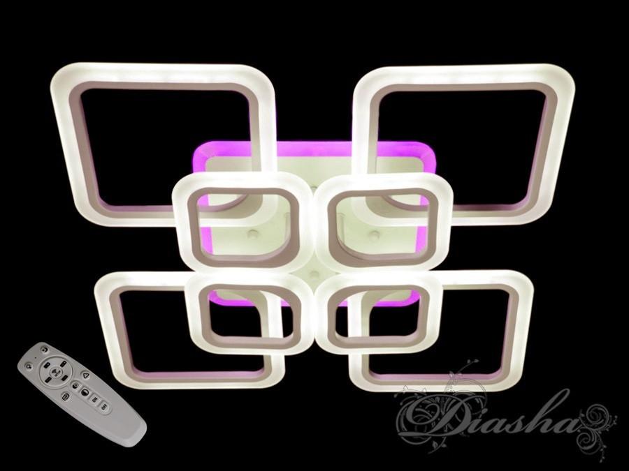 Светодиодная потолочная люстра с разноцветной подсветкой A8060/4+4WH LED 3color dimmer