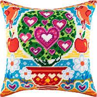 Подушка Древо любви Набор для вышивания полукрестом на канве с нанесенным рисунком