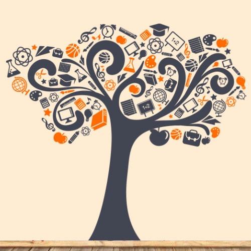 Интерьерная виниловая наклейка на обои Дерево знаний (наклейки деревья для школы в класс для детей) матовая 1660х1500 мм