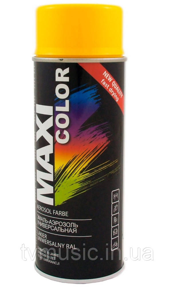 Аэрозольная краска Maxi Color RAL 1023 Транспортно-желтый 400 мл