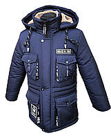 Зимняя удлиненная куртка-парка на мальчика подростка на овчине 34-44 рр