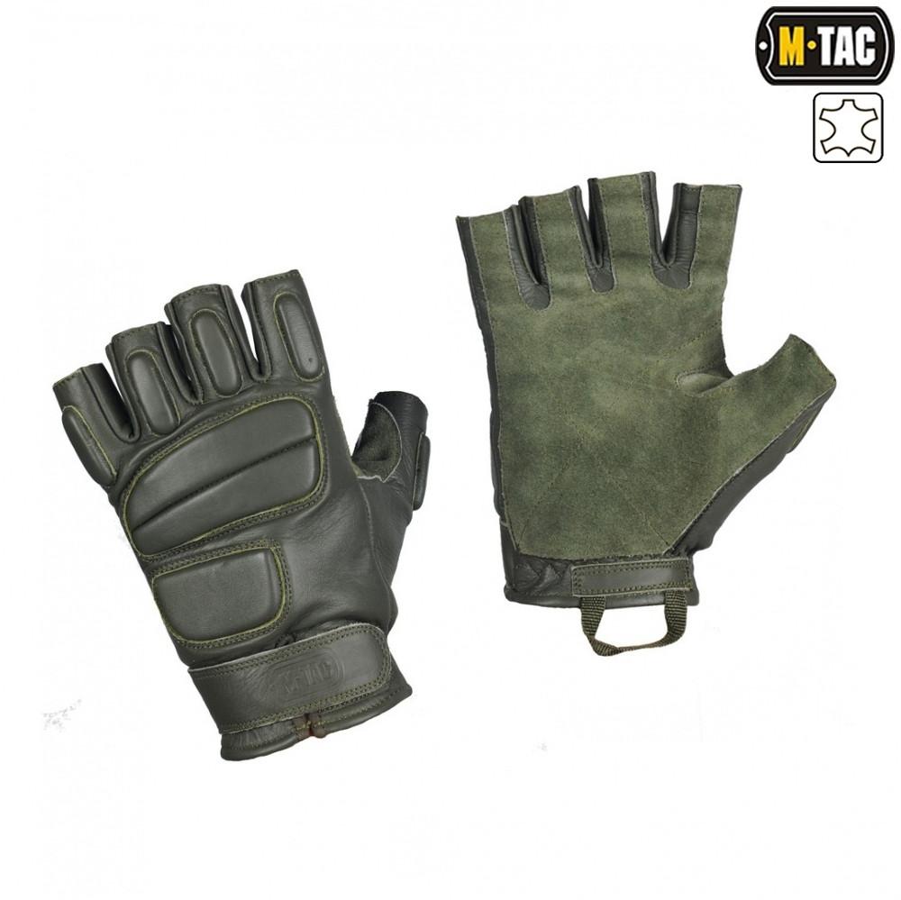 M-Tac перчатки тактические беспалые кожаные Assault Tactical Mk.1 олива