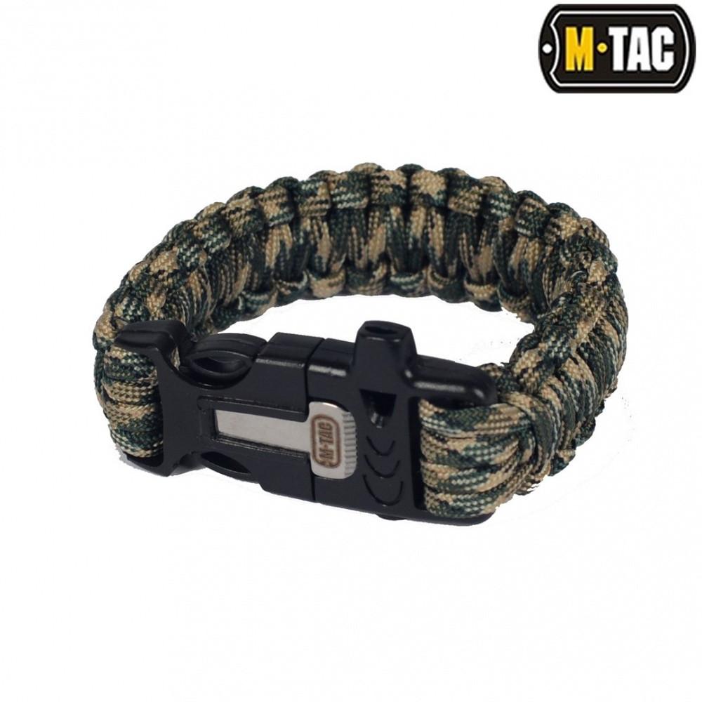 M-Tac браслет-паракорд с искровысекателем, компасом и свистком olive / tan