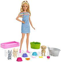 Кукла Барби с щенком, котенком и кроликом Купай и играй Barbie Wash Pets