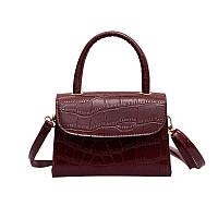 Бордовая маленькая женская сумочка с змеиным принтом , фото 1