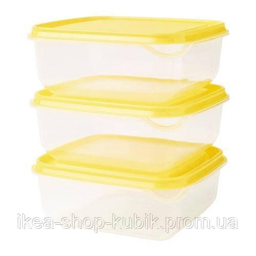 IKEA ПРУТА Набір контейнерів, 3 шт., жовтий