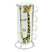 """Набор кофейный на подставке """"Жираф""""(4 персоны),150 мл."""