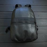 Рюкзак кожаный Calvin Klein (black), городской черный рюкзак Calvin Klein, черный рюкзак Кельвин Кляйн