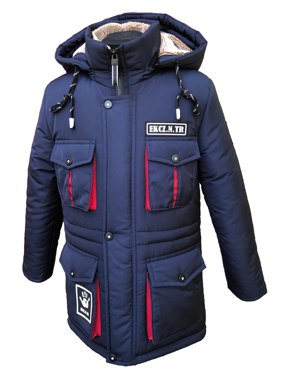 Зимова подовжена куртка-парка на хлопчика підлітка на овчині 134, 140 см