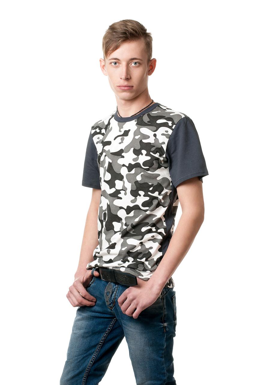 Мужская хлопковая футболка в камуфляжный принт, рукава однотонные, цвет хаки