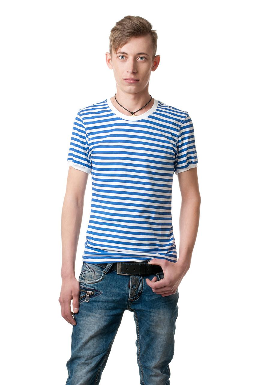 Чоловіча футболка у смужку, приталеного класичного крою, біло-блакитна