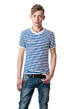 Мужская футболка в полоску, приталенного классического кроя, бело-голубая