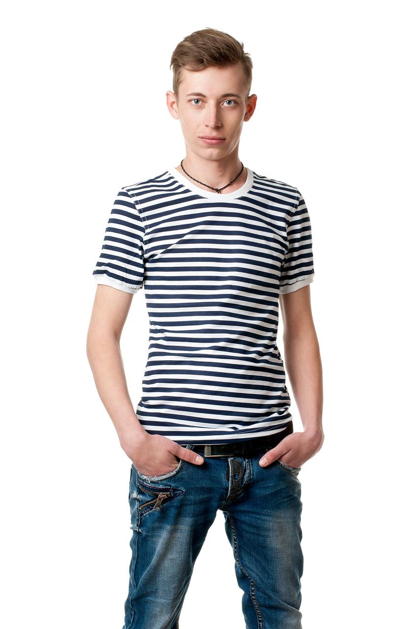 Мужская футболка в полоску, приталенного классического кроя, бело-черная