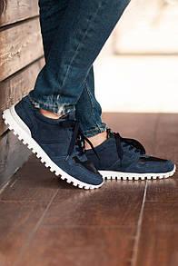 Синие замшевые кроссовки на тракторной подошве