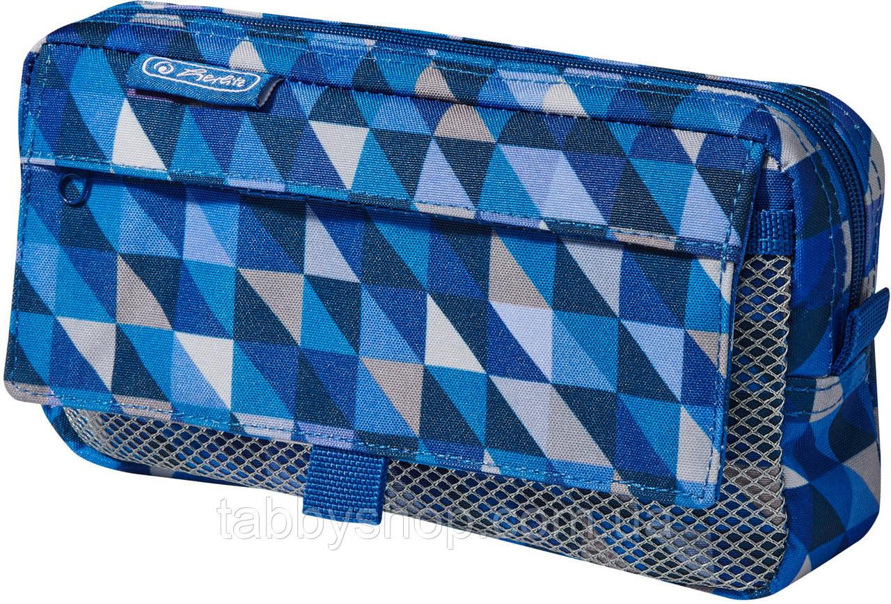 Пенал школьный Herlitz Pockets Cubes Blue