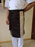 Поварской фартук коричневый с полосой. Ткань: саржа.